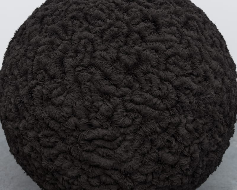 A large black sphere in the corner of a white room. The sphere has a complex detailed texture. The texture is made from iron filings attracted to the sphere.