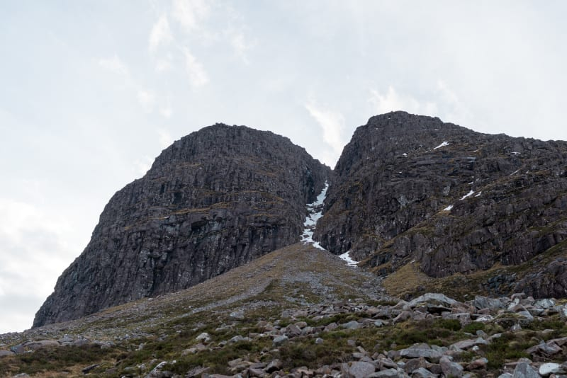 Looking up at Morrison's gully in Beinn Eighe from below.