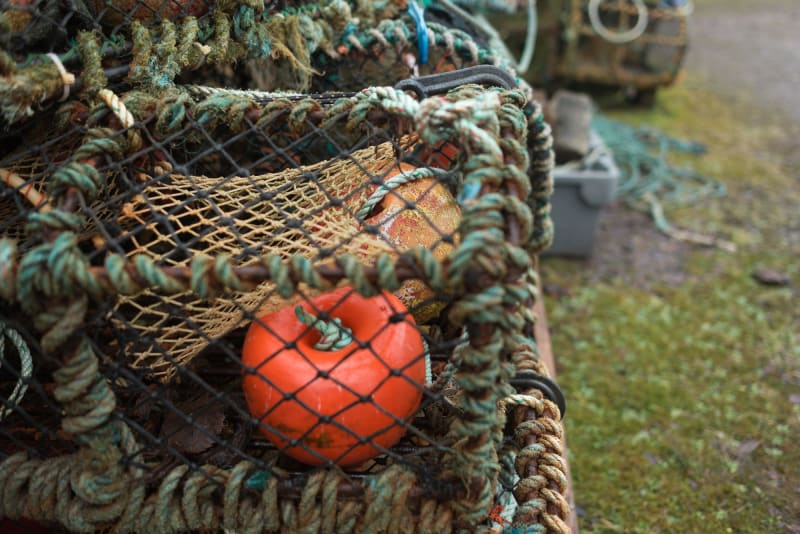 A detail photo of some fishing nets and lobster pots. There's a bright orange buoy in the foreground.