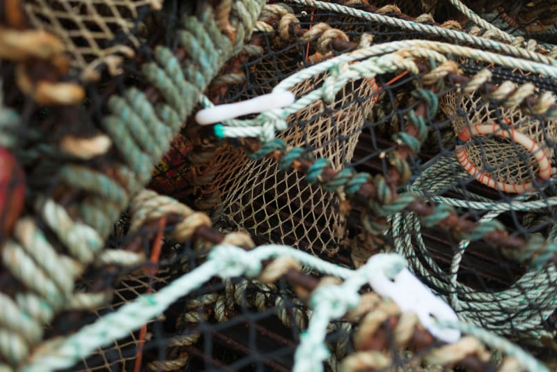 A detail photo of some fishing nets and lobster pots.