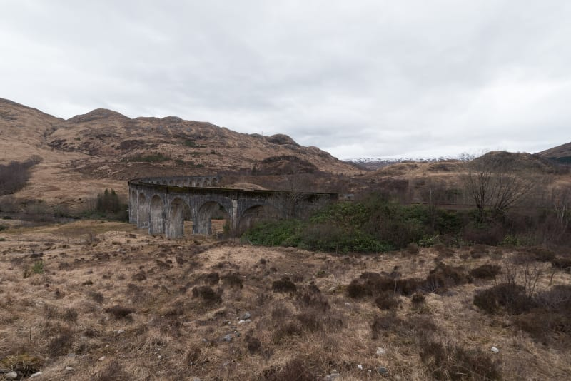 The Glenfinnan viaduct seen from the side.