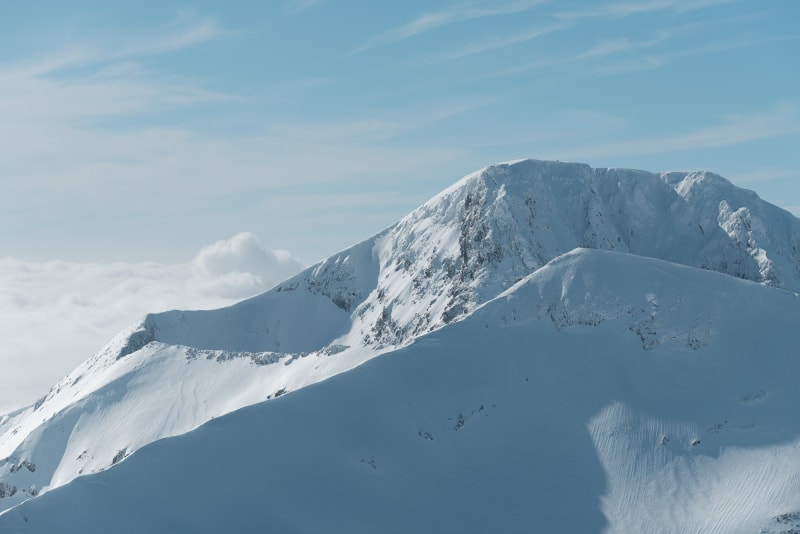 Looking towards the Ben Nevis. In the foreground, the CMD arete can be seen snaking down and across the frame.