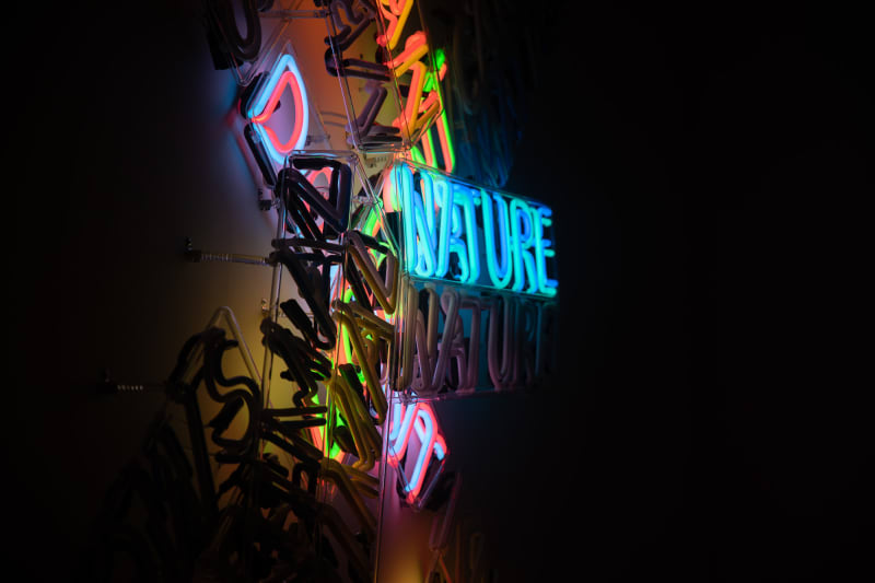 A large neon sculpture comprised of multiple overlaid words. The word 'nature' is prominently lit.