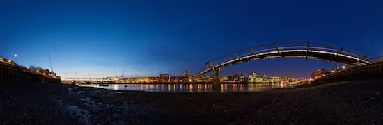Panorama of the Thames skyline, taken beneath Millenium brige.