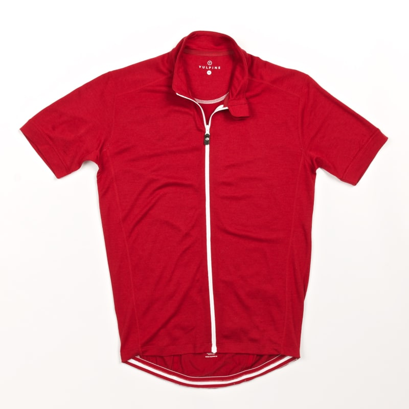 Photo of a red merino jersey.