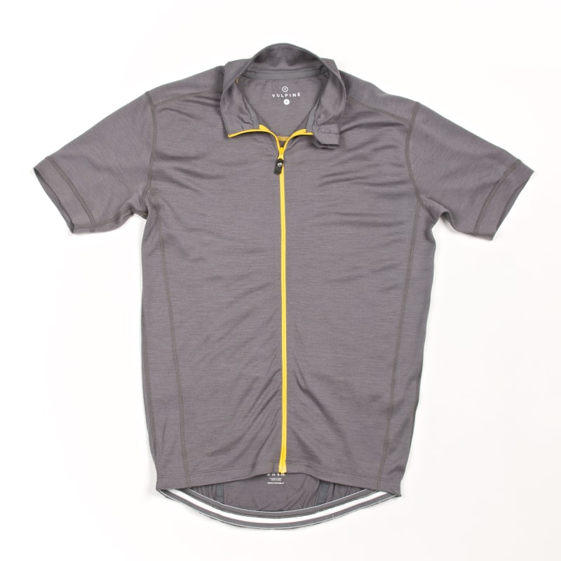 Photo of a grey merino jersey.