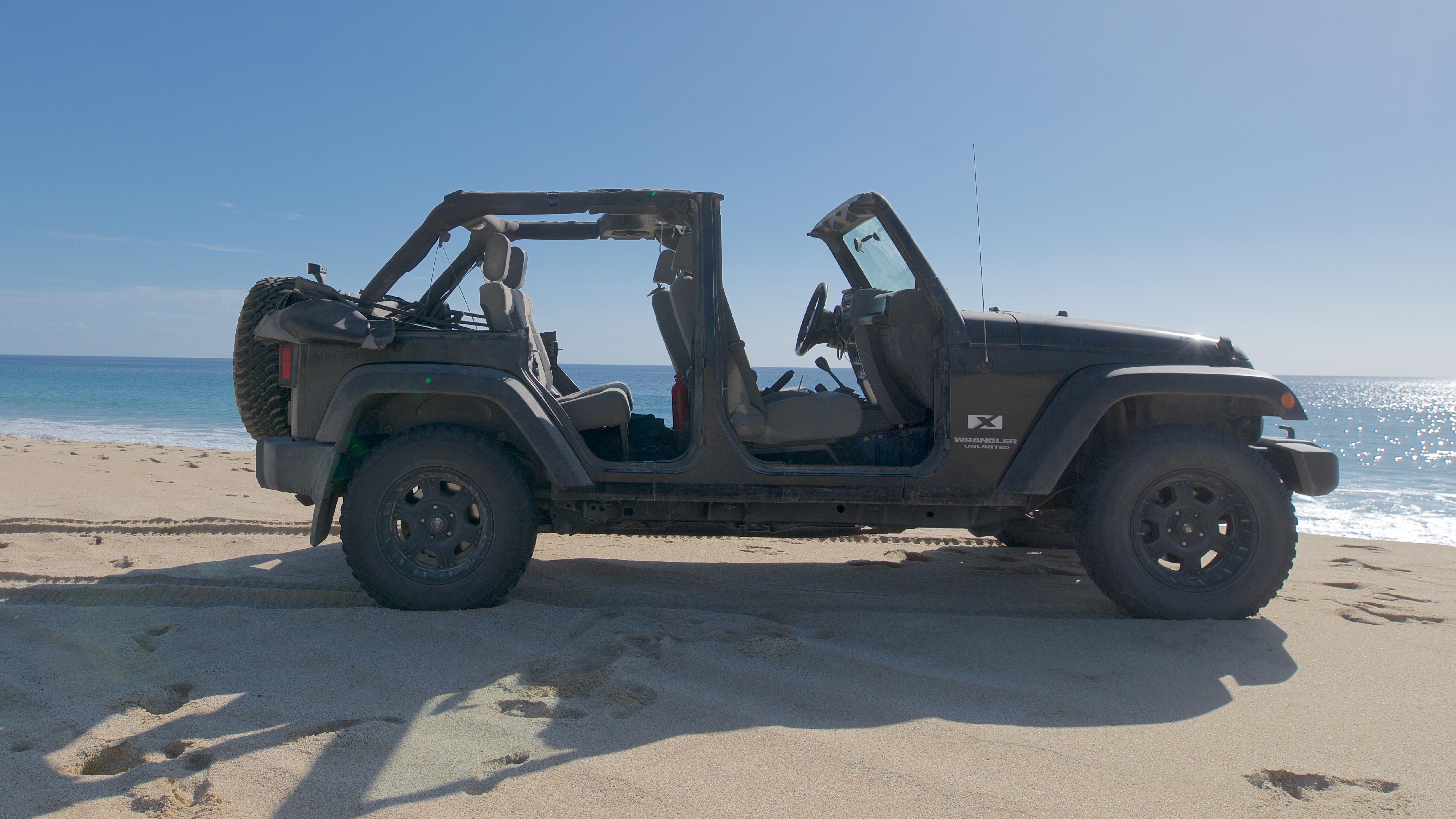 Jeep Wrangler in Baja California, Mexico. No doors