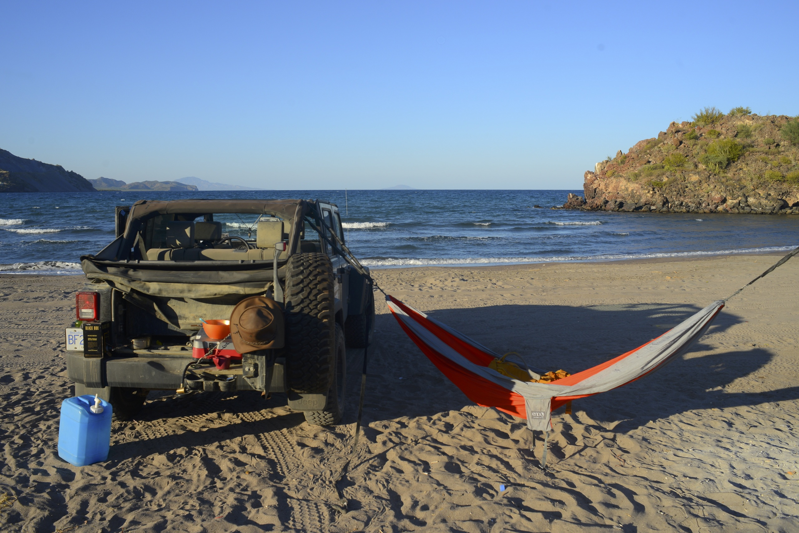 Jeep with hammock
