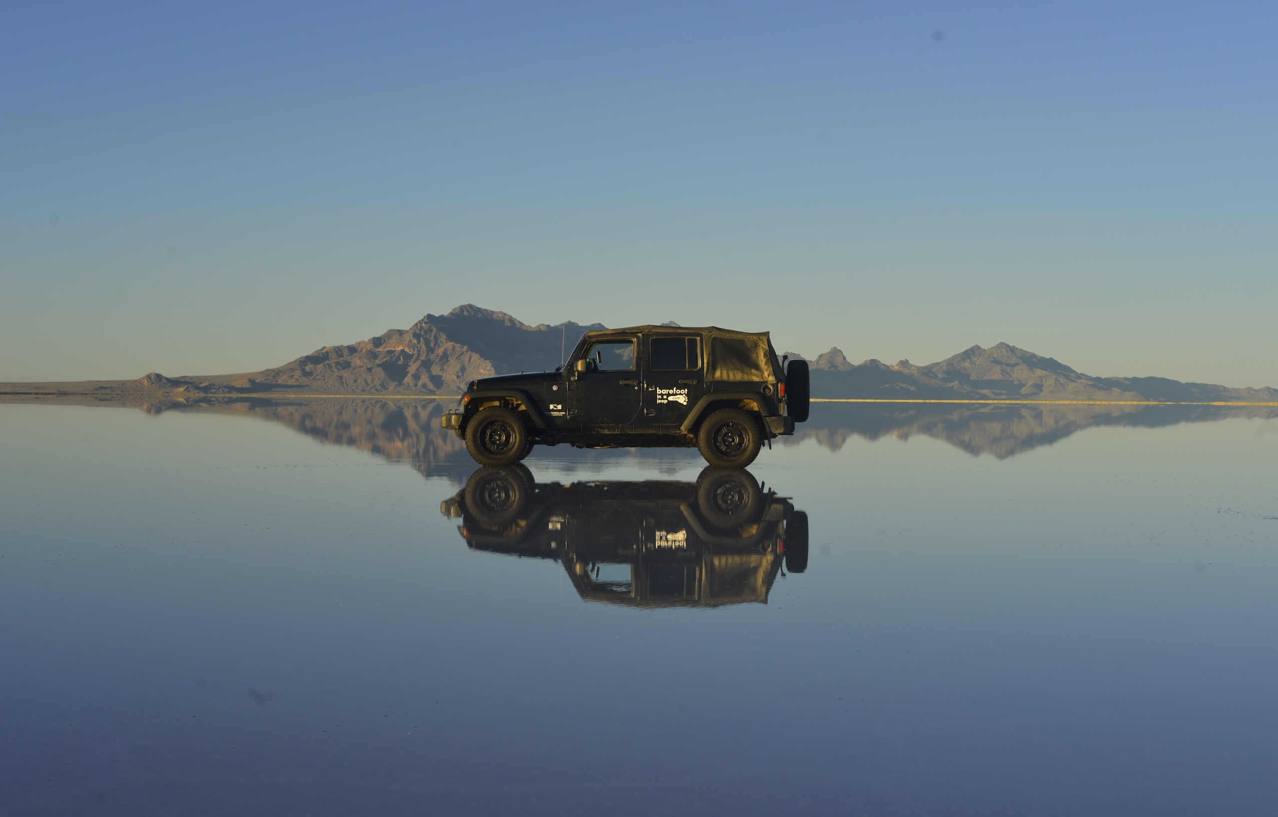 Jeep Wrangler in Nevada, USA, salt flat
