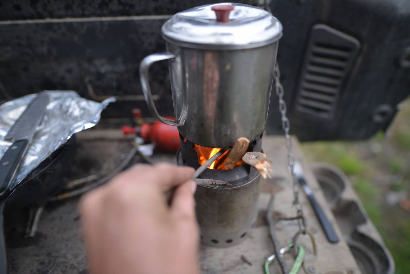 Car camping with solostove
