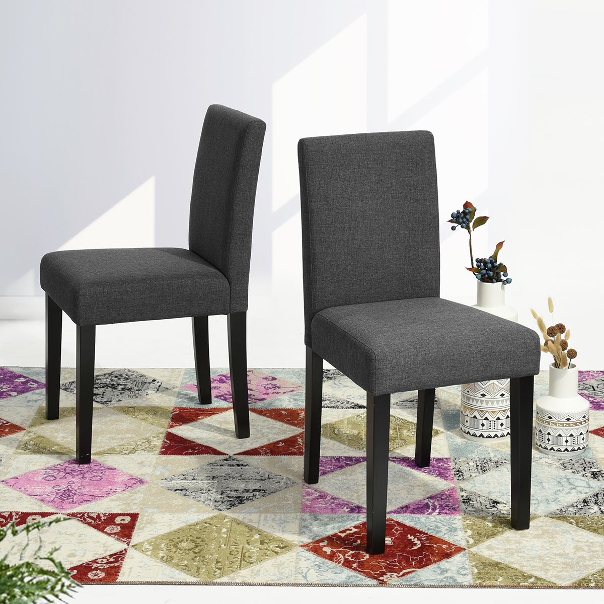 Details about Set of 2 Dining Chairs Fabric Parson Chair Side Chair for  Kitchen Restaurant