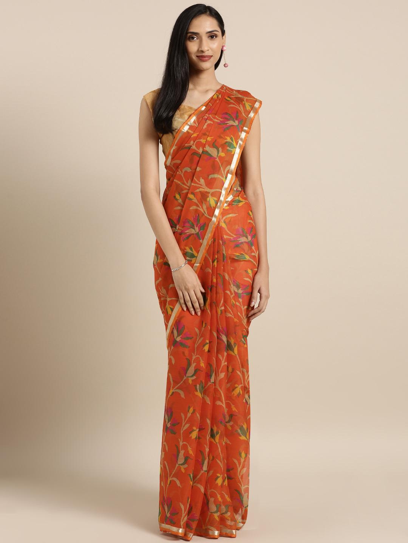 Satrani Orange Printed Chiffon Saree Price in India