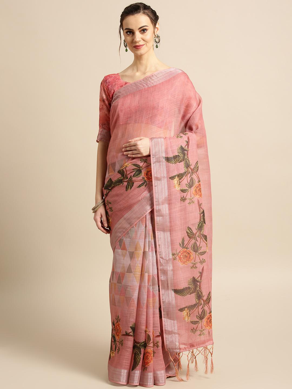 Saree mall Pink & Green Printed Saree Price in India