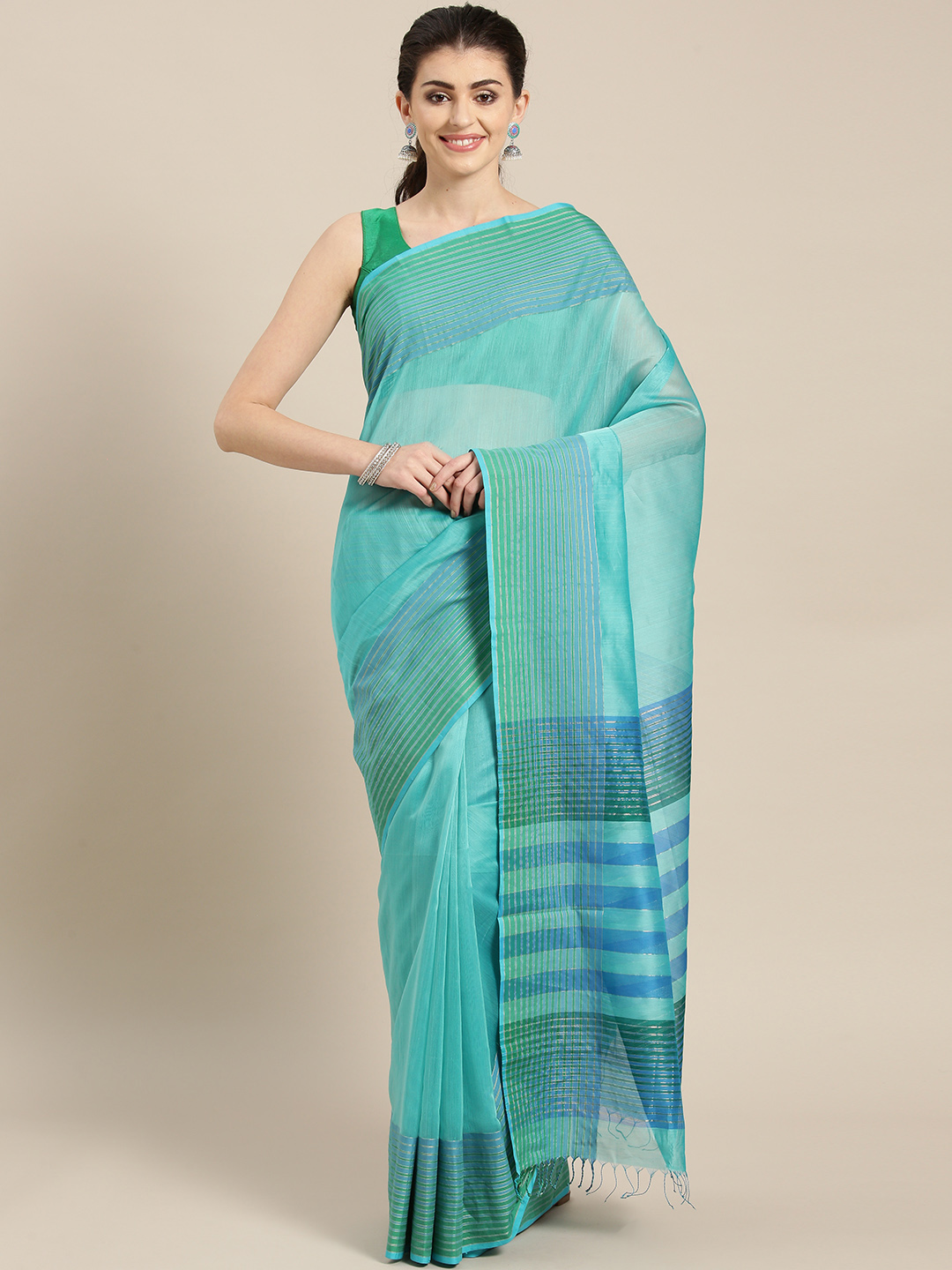 lal10 Turquoise Blue Solid Handloom Maheshwari Saree Price in India