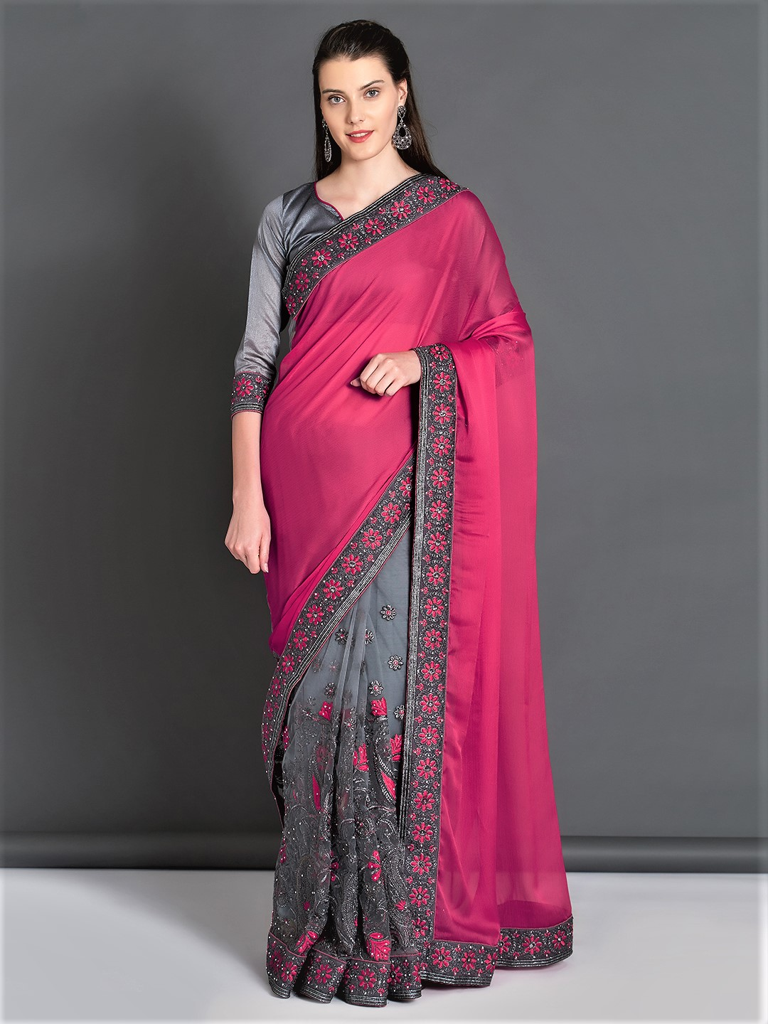 Mitera Pink & Grey Pure Georgette Embroidered Saree Price in India