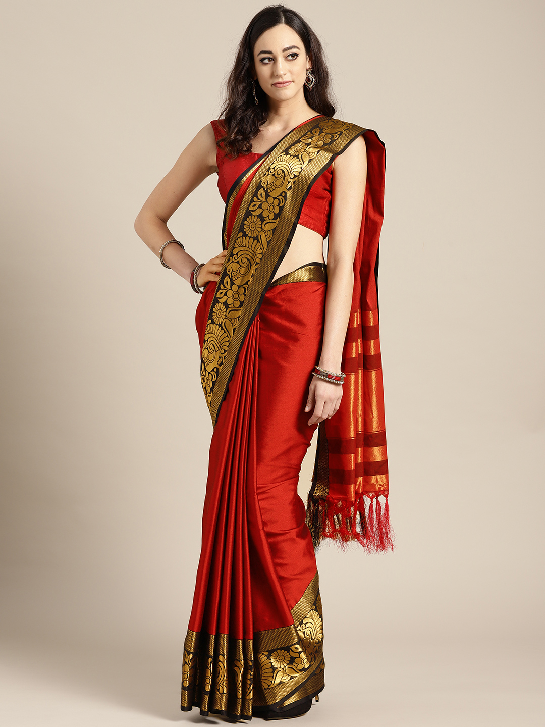 Rajesh Silk Mills Red & Black Solid Saree Price in India