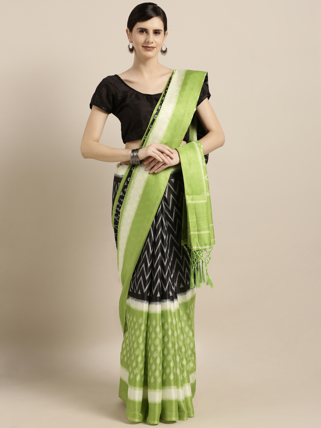 GoSriKi Green & Black Silk Cotton Ekkat Printed Saree Price in India