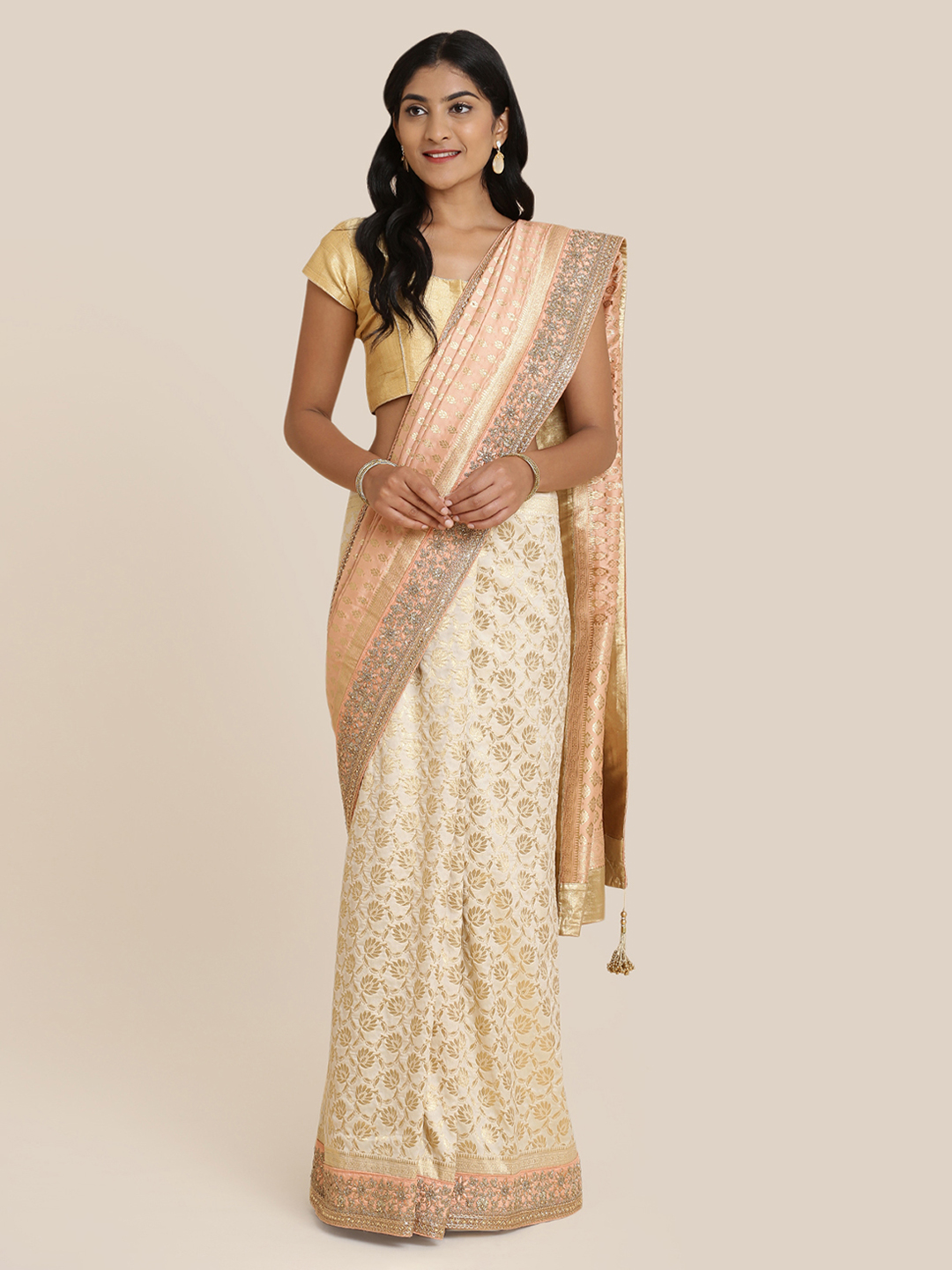 Koskii Peach-Coloured & Gold-Coloured Brocade Woven Design Saree Price in India