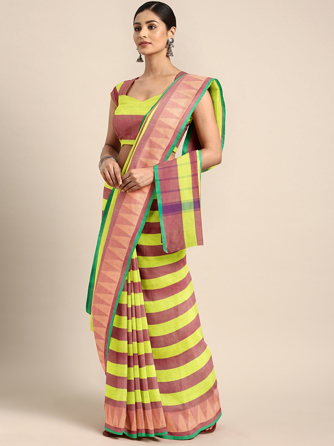 The Chennai Silks Fluorescent Green & Brown Pure Chettinad Cotton Striped Saree Price in India