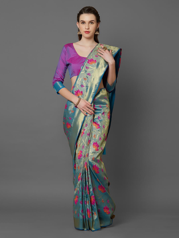 Mitera Turquoise Blue & Purple Silk Blend Woven Design Kanjeevaram Saree Price in India