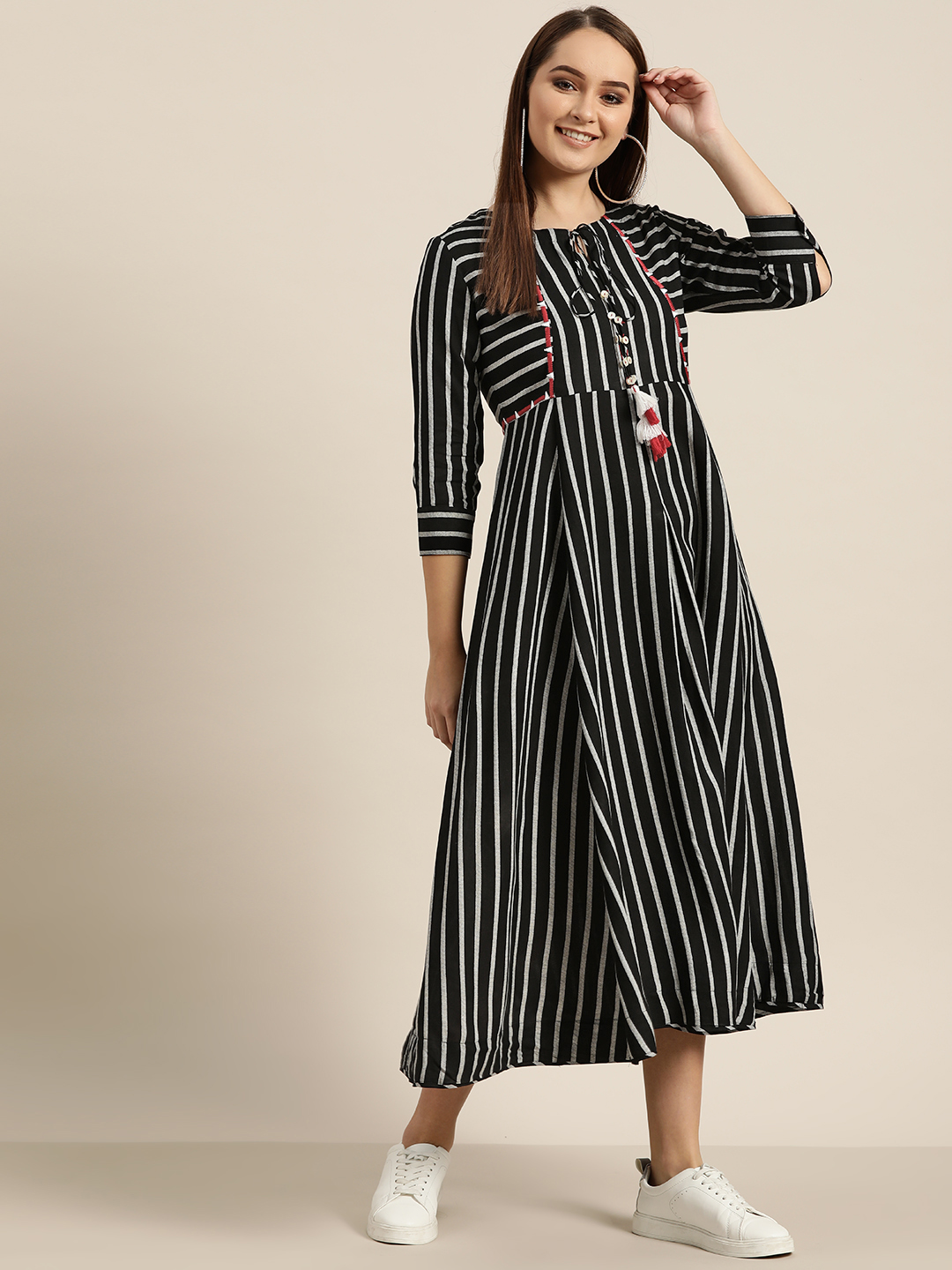 Sangria Women Black & White Striped Maxi Dress Price in India