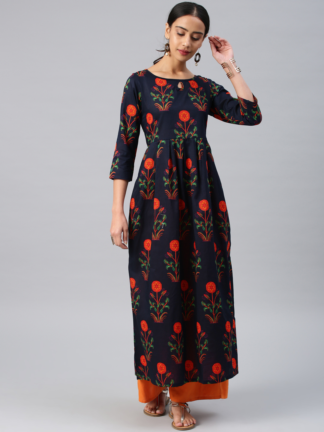 Vishudh Women Navy Blue Printed Fit and Flare Dress Price in India