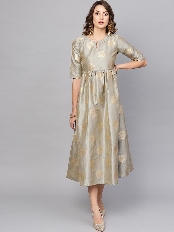 Libas Women Grey and Golden Self Design Empire Dress Price in India