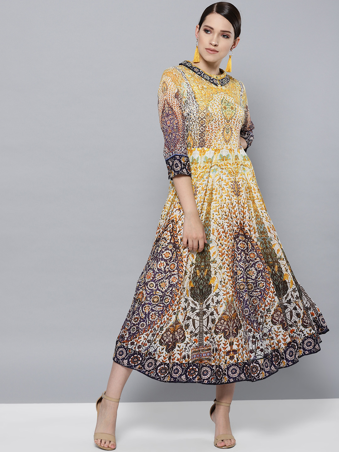 Label Ritu Kumar Women Yellow & Purple Printed A-Line Dress Price in India