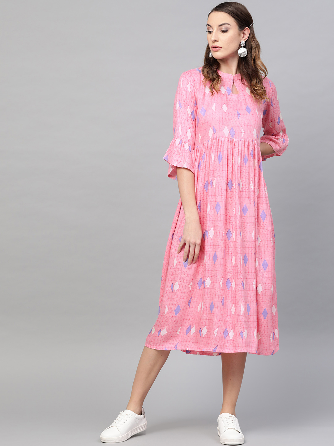 GERUA Women Pink Printed Midi Empire Dress Price in India