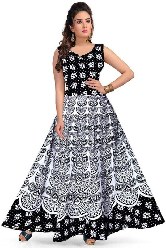Women Fit and Flare White, Black Dress Price in India