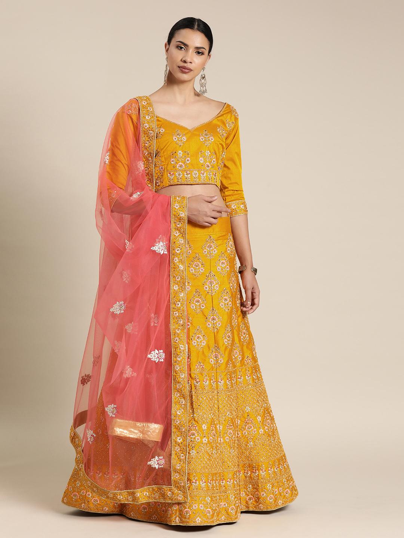 Shaily Mustard Yellow & Pink Embellished Semi-Stitched Lehenga Choli Set Price in India