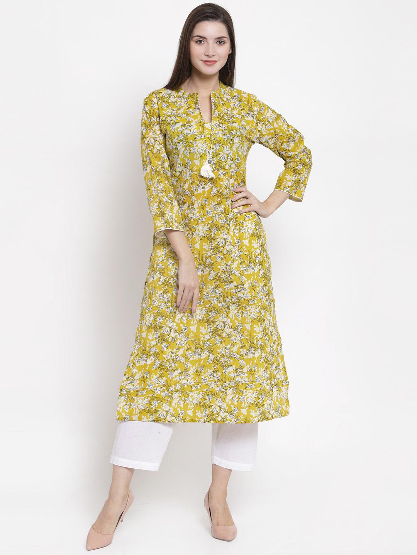 The Kurta Express Women Yellow & White Printed Straight Kurta Price in India