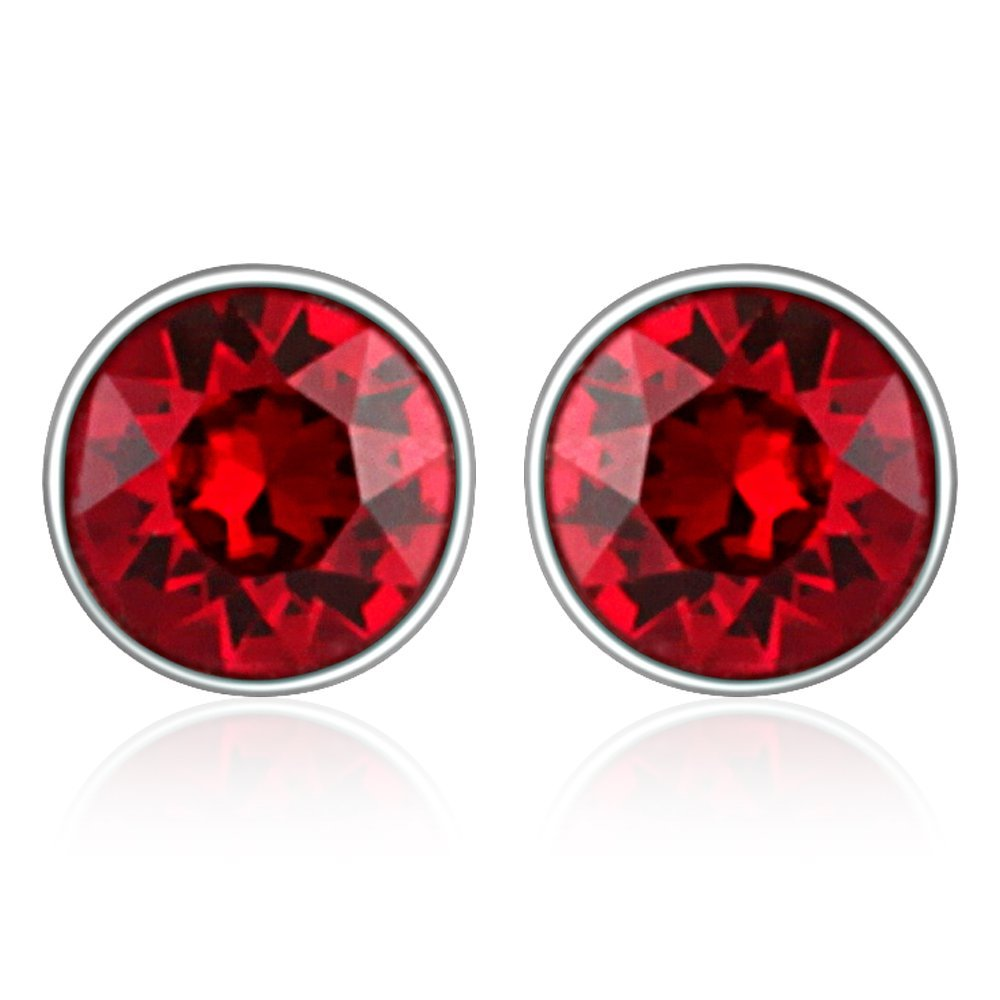 Mahi with Swarovski Crystals Red Round Rhodium Plated Stud Earring for Women ER1104083RRed Price in India