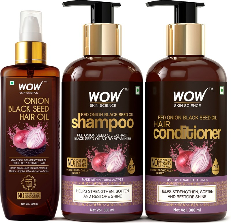 WOW Skin Science Red Onion Black Seed Oil Ultimate Hair Care Kit (Shampoo + Hair Conditioner + Hair Oil) Price in India