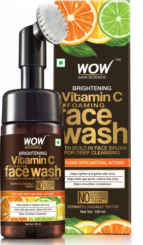 WOW Skin Science Brightening Vitamin C Foaming Face Wash with Built-In Face Brush for deep cleansing - No Parabens, Sulphate, Silicones & Color - 100 ml Face Wash Price in India