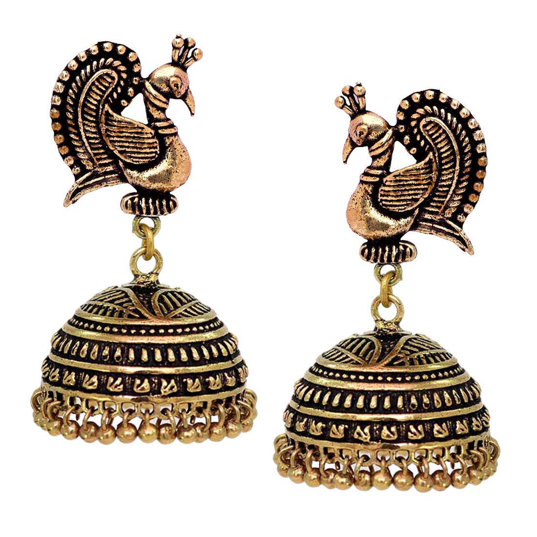 V L IMPEX Dancing Peacock Black Metal Gold Palted Oxidized Jhumki Earrings For Women Price in India