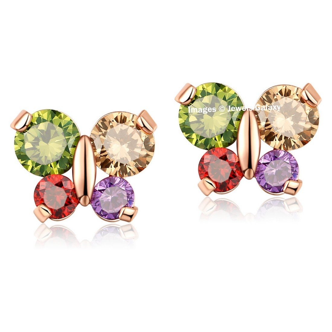 Jewels Galaxy Crystal Elements Luxuria Sparkling Butterfly Designer Splendid Multicolor Stud Earrings For Women/Girls Price in India