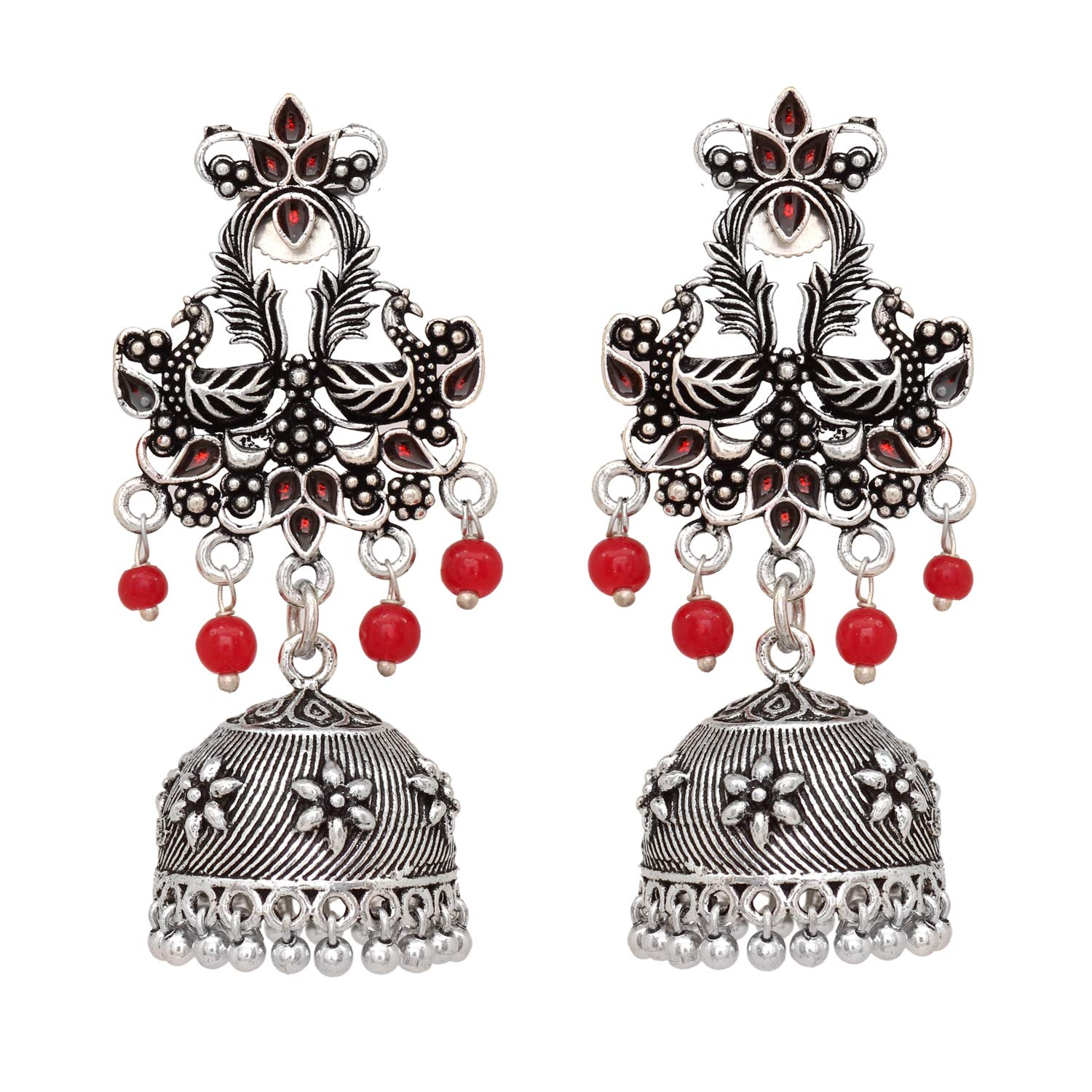 V L IMPEX Oxidized Silver With Color Beads Meena Work Women Jhumka Jhumki Earrings Price in India