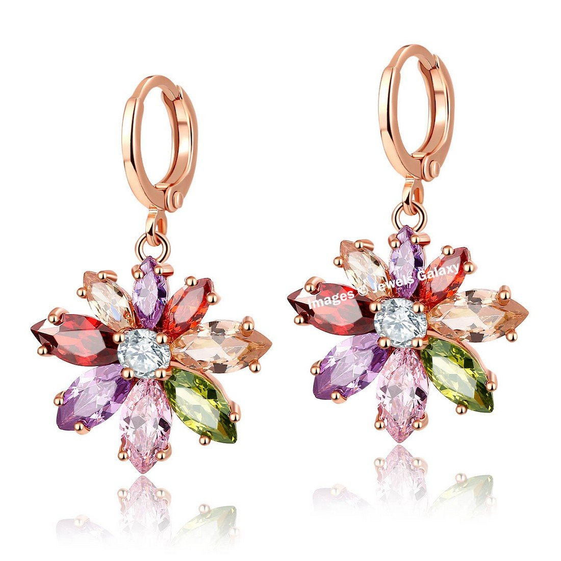 Jewels Galaxy Crystal Elements Exclusive Sparkling Multicolor Floral Designer 18K Rose Gold Plated Drop Earrings For Women/Girls Price in India