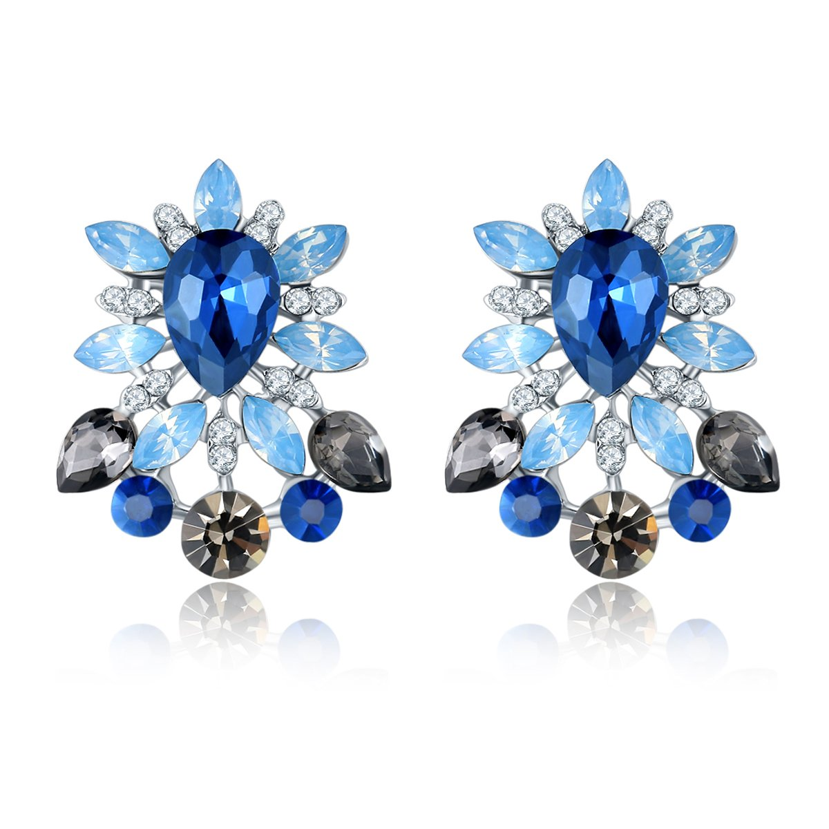 Jewels Galaxy Dreamy Blue Sapphire Floral Crystal Elements Limited Edition Delicate Design Earrings For Women/Girls Price in India