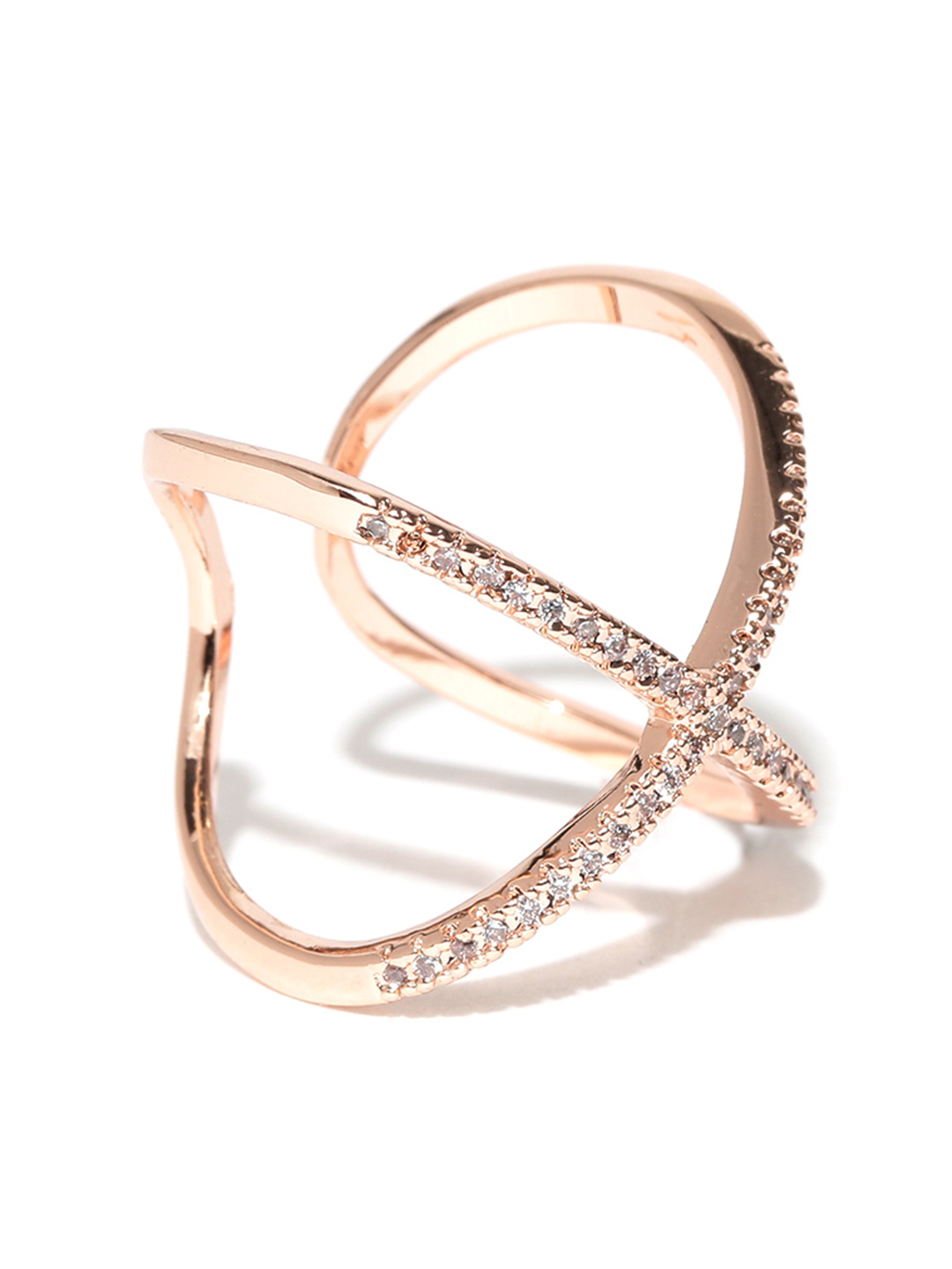 Jewels Galaxy 18K Rose Gold-Plated Zircon Stone-Studded Adjustable Ring Price in India
