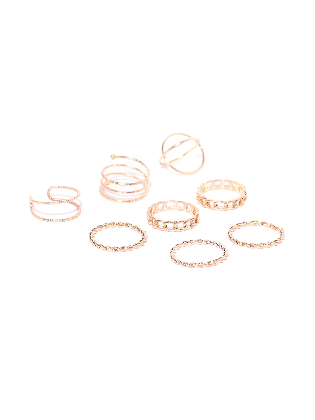 Jewels Galaxy Women Set of 8 Rose Gold-Plated Finger Rings Price in India
