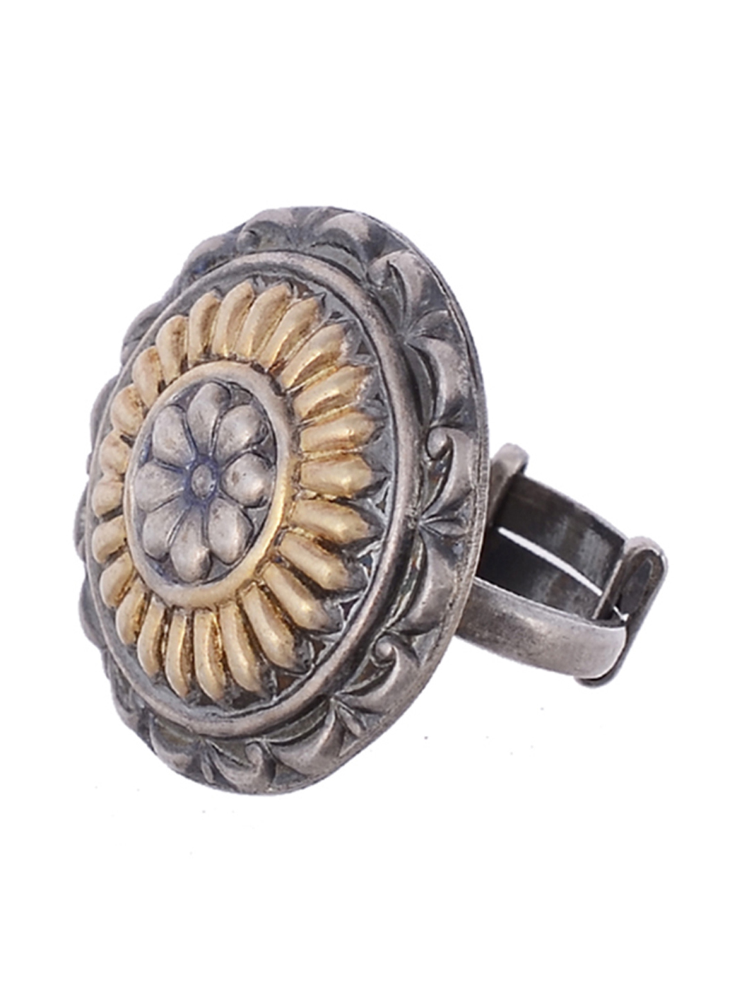 Silvermerc Designs Oxidised Silver-Plated & Gold-Toned Adjustable Finger Ring Price in India