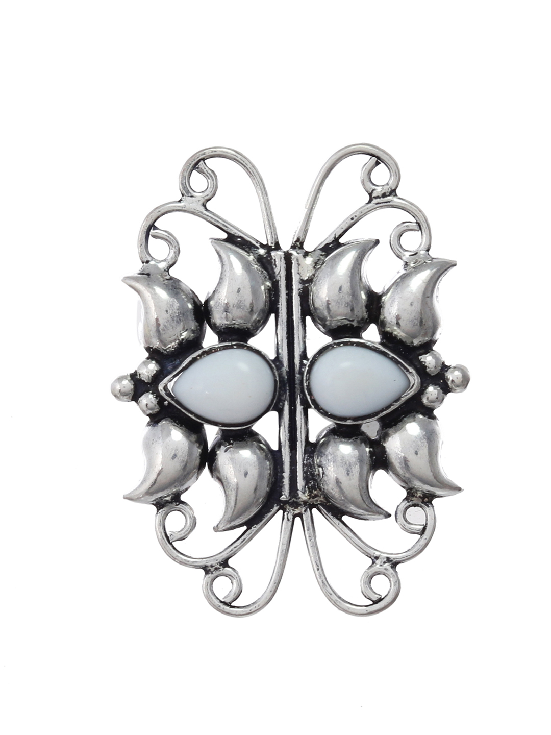 Silvermerc Designs Silver-Plated & White Stone-Studded Oxidised Adjustable Finger Ring Price in India