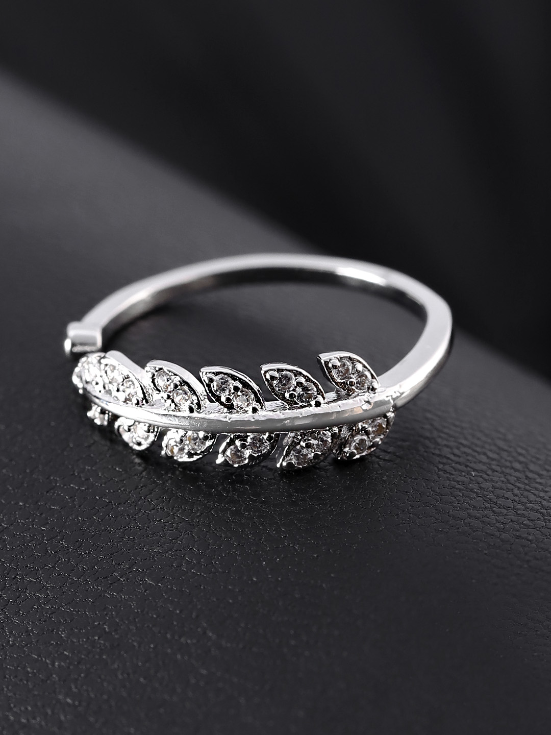 Jewels Galaxy Silver-Plated Stone Studded Handcrafted Adjustable Finger Ring Price in India