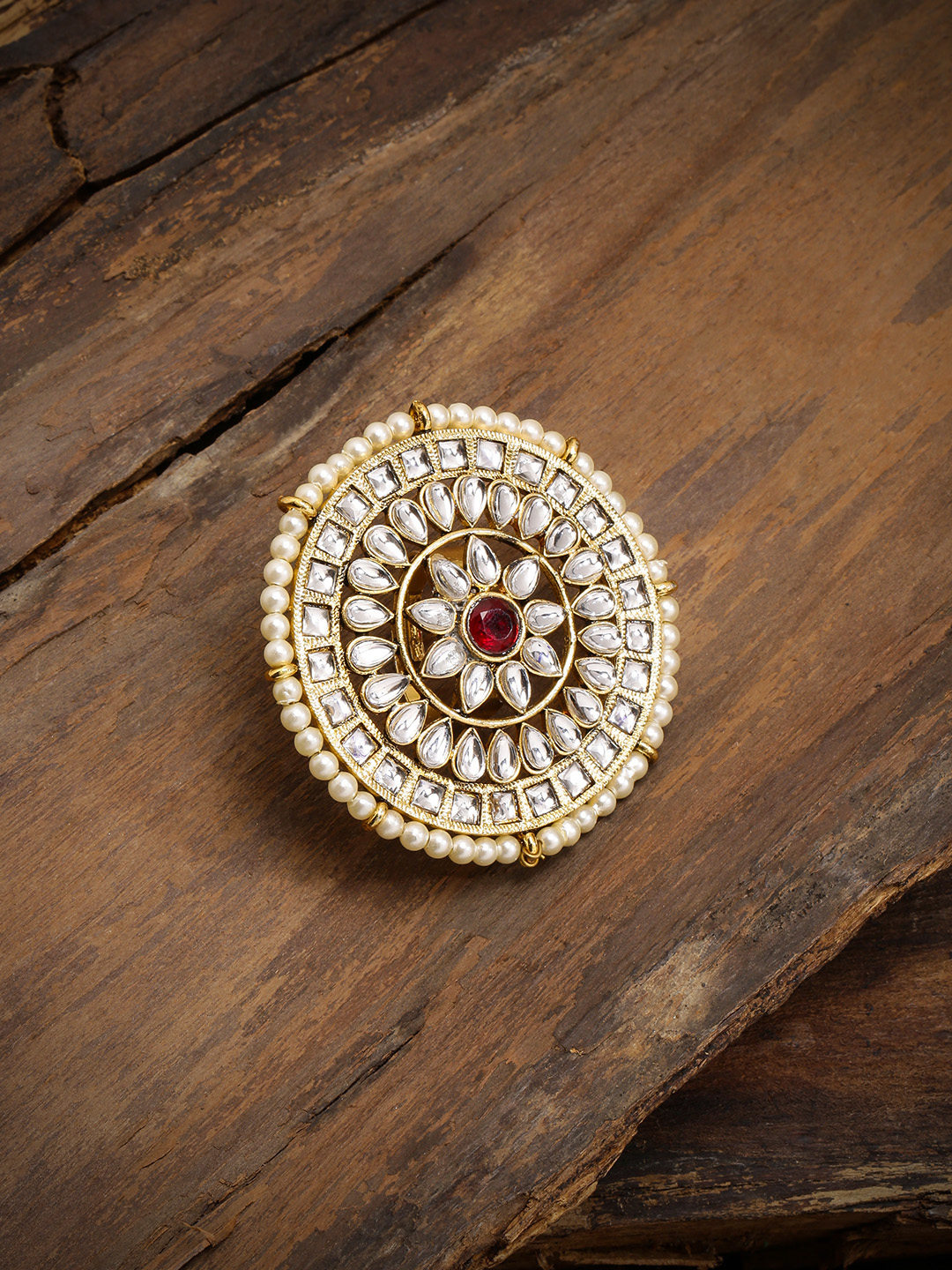 Zaveri Pearls Gold-Plated Kundan & Pearls Studded Adjustable Finger Ring Price in India