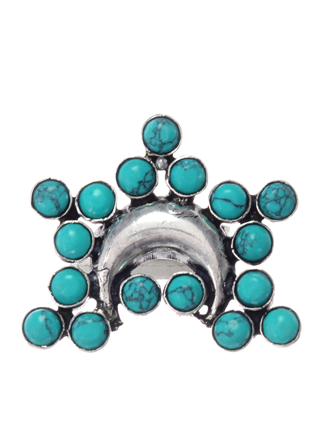 Silvermerc Designs Silver-Plated & Blue Stone-Studded Oxidised Silver Finger Ring Price in India