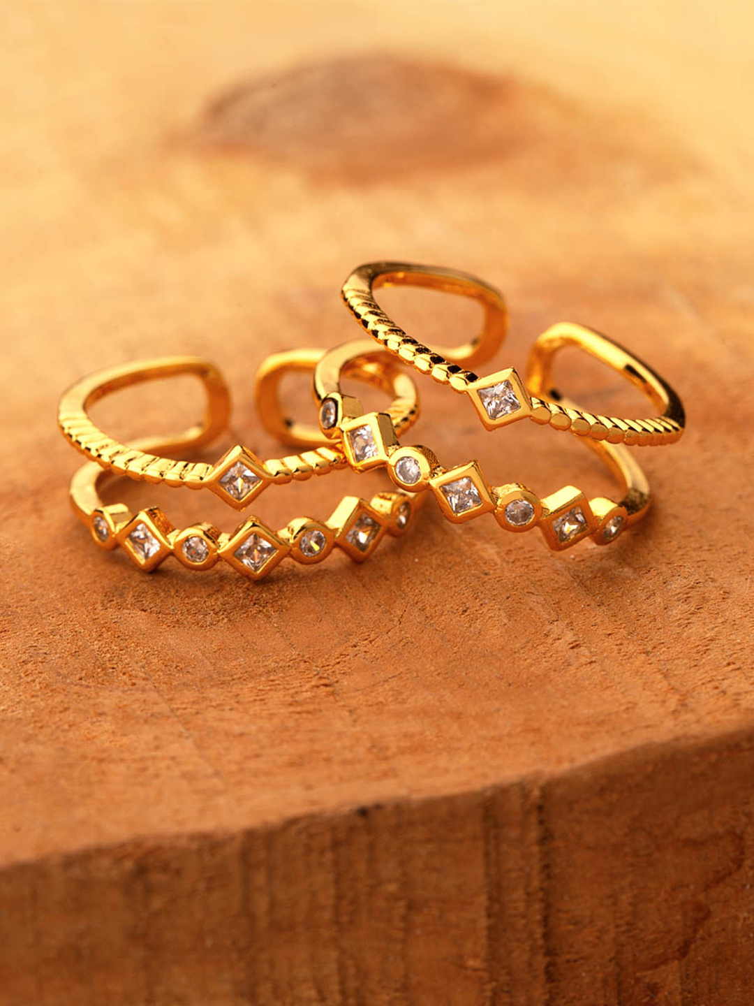 Voylla Women Set of 2 Brass-Plated Gold-Toned & White CZ-Studded Toe Rings Price in India