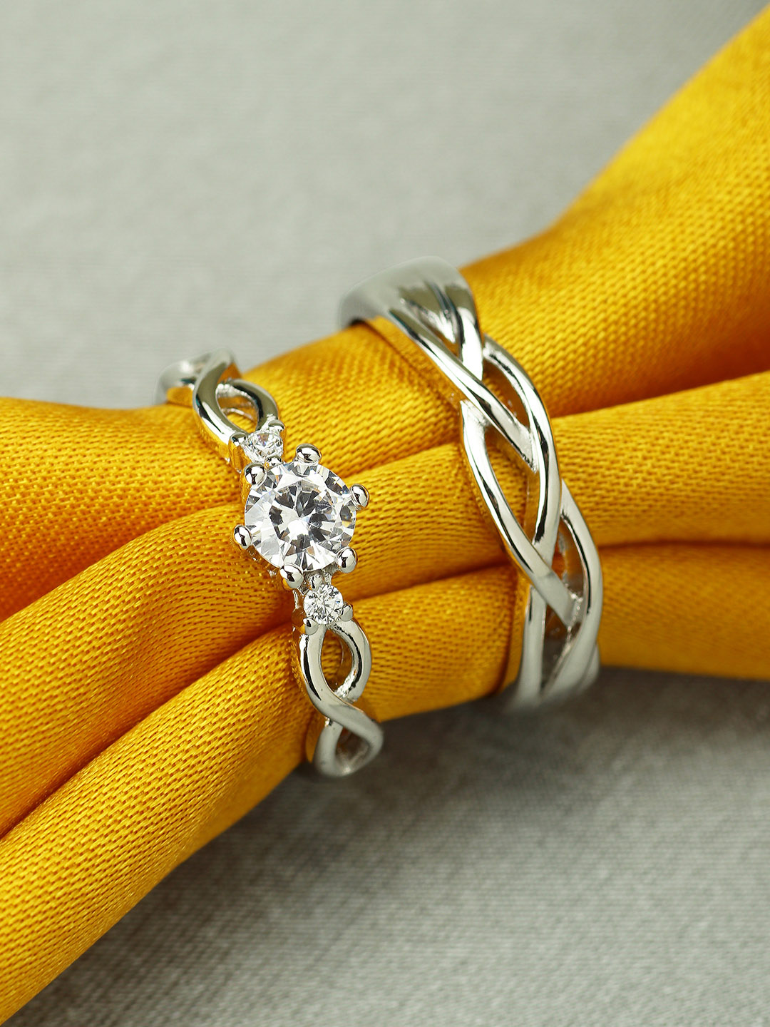 Peora Silver-Plated Couple Ring Set Price in India