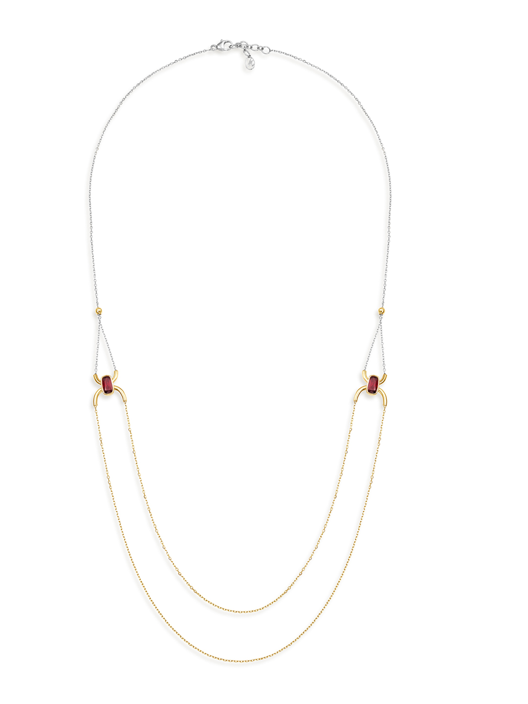 Mia by Tanishq 14KT Yellow Gold Necklace with Pink Garnets Price in India